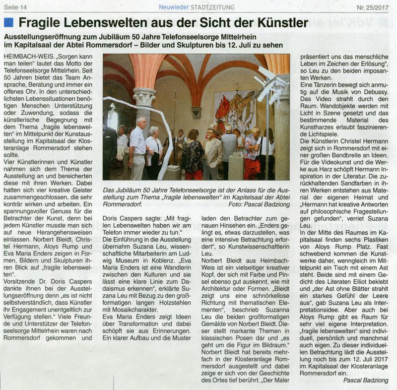 Neuweiler Stadtzeitung – fragile Lebewesen – Klosteranlage Rommersdorf